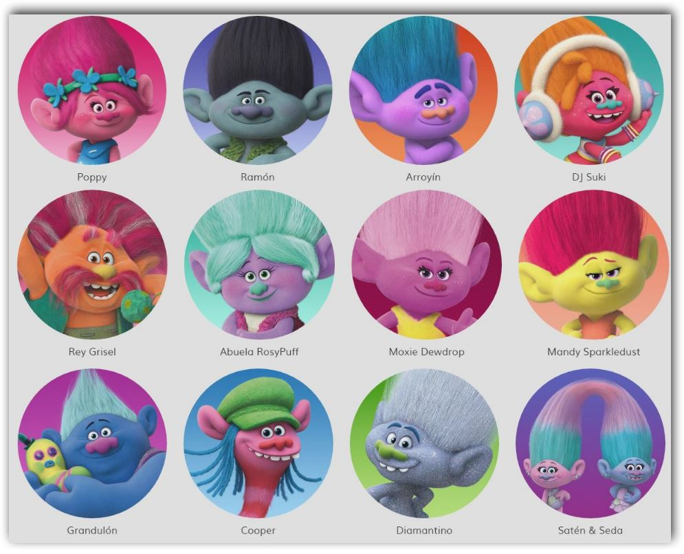 Nombre de los personajes de Trolls